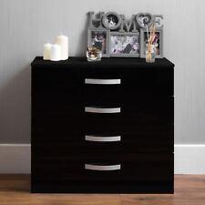 Hulio Drawer Chest 4 Drawers High Gloss Wood Storage Bedroom Furniture Black