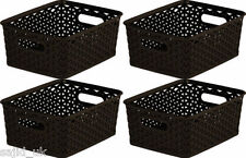 4x Curver Nestable Rattan Basket Small Storage Plastic Wicker Tray 8L - Brown