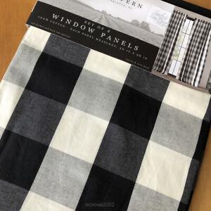 "Fayre & Fern BUFFALO PLAID Farmhouse WINDOW CURTAINS Panels Black Ivory 50x96"""