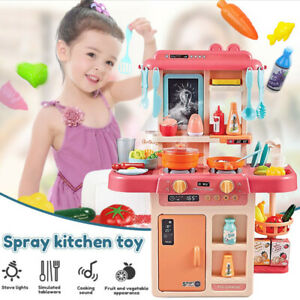 Kids Kitchen Play Set Role Pretend Play Toys W/Real Cooking And Simulation Spray
