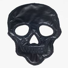 Black PVC Leather Skull (Sew On) Embroidery Applique Patch Sew Iron Badge