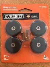 "Everbilt Heavy Duty Chair Furniture Pad Protectors Anti-Skid Plastic 1 1/2"" 4 pk"