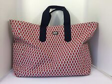 Ame & Lulu XL Tote Bag Red and White Chain Print with Navy Beach Gym Travel Golf