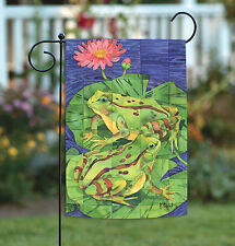 NEW Toland - Two Toad Tiles - Colorful Green Lily Pad Pond Flower Garden Flag