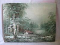 vintage signed oil painting original Millet landscape artwork canvas