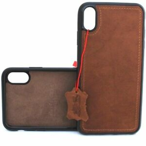 Genuine Natural Leather Case For Apple iPhone XS Handmade Cover Magnetic Holder