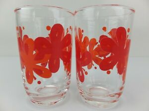 Vintage Small GLASS TUMBLERS With Orange & Red Flower Print x 2