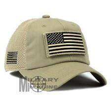 USA American Flag Hat Khaki Detachable Patch Micro Mesh Tactical Cap