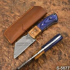 5677 | Black Buck's Handmade Damascus Steel Skinner / Seax knife | W/Sheath