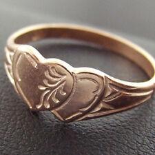 120 GENUINE REAL 14KT ROSE VERMEIL GOLD ANTIQUE HEART DESIGN SIGNET RING SZ M 6