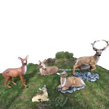 HIRSCH 119 cm + REH FAMILIE Garten Deko Figur Tiere Wald ROTHIRSCH Waldtiere