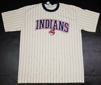 Vtg Cleveland Indians MLB Chief Wahoo Pinstripe Cream 2000 T-Shirt Adult XL NEW