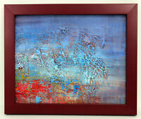 Blue Hues Abstract 8 X 10 Oil Painting on Canvas w/ Custom Frame - Free Shipping