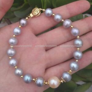 """7.5-8"""" AAA South Sea Natural Gray Pink Pearl Bracelet 14k Gold P Clasp"""