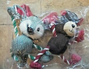 BFF Christmas Holiday Dog Toy 2 Pack, Bear & Reindeer Rope Tug Toys