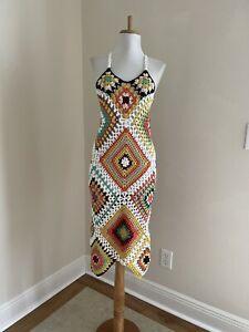 Sexy BoHo Granny Square Crochet Sleeveless Dress VTG Hippy Festival Midi Dress