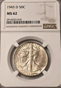 1945-D  NGC MS62 Walking Liberty Half Dollar! NICE COIN !