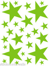 LIME GREEN VINYL DECAL STICKER STARS - 2 sheets total of 52 pieces BEDROOM WALL