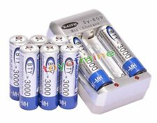 8pcs 1.2 V AA 3000mAh BTY Ni-MH Rechargeable Battery Cell + AA Battery Charger