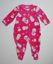 Carter's~USA~Schlafanzug~62-68~Strampler~Fleece~Pyjama~Füße~Schneemann~pink~neu