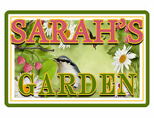 """PERSONALIZED GARDEN SIGN """"YOUR NAME"""" Beautiful COLOR Glossy ALUMINUM SIGN brd438"""