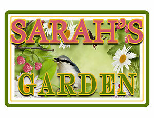 "PERSONALIZED GARDEN SIGN ""YOUR NAME"" Beautiful COLOR Glossy ALUMINUM SIGN brd438"