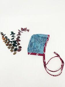 Handmade Baby Bonnet 0/1 Month Blue Purple Floral Baby Girl Hat Summer Spring