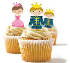 ✿ 24 Edible Rice Paper Cup Cake Topper, decorations - Prince and Princess ✿