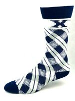 Xavier Musketeers For Bare Feet Navy White and Gray Plaid Crew Socks