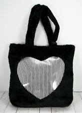 Betsey Johnson Black Faux Fur Handbag Tote W/clear Heart Outer Compartment
