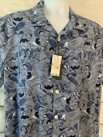 Perry Ellis NWT Button Down Shirt Blue Comic Graphic Camp Mens Size Large