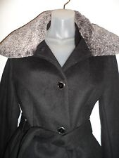 Calvin Klein CK NWOT M Trench Coat Winter Wool Jacket Black Gray Faux Fur Winter
