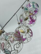 Vintage Clear Christmas Ornaments Hand Painted Hand Blowing.
