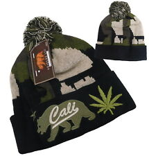 Camo Rasta Weed Leaf Cannabis Marijuana Cuffed Beanie Ski Hat