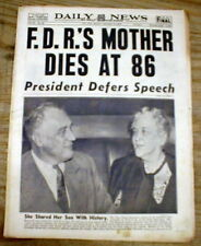 1941 NY Daily News newspaper w DEATH of MOTHER of PRESIDENT FRANKLIN D ROOSEVELT