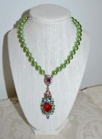 NIB $170 HEIDI DAUS Floral NeoClassic Pearl Crystal Oval Drop Necklace Pink
