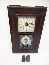 Antique Old Waterbury Clock Co 8 Day & 30 Hour OG Style Painted Glass Wall Clock