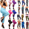 Women Compression Capri Pants Fitness Gym Exercise 3/4 Cropped Leggings Trousers