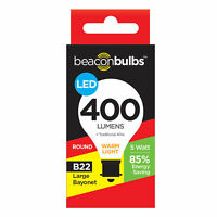 LED 5W 40W Equivalent Candle Golf Ball Light Bulb Lamp Warm White B22 Bayonet