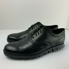 Cole Haan ZeroGrand Oxford Wingtip Dress Shoes All Black SZ ( C20719 )