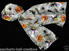 Halloween Cobwebs Womens Scarf Witch Pumpkin Spider Cat Gift White Scarves New