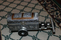 Vintage India Horse Cattle Carriage Trinket Box Intricate Metal Designs Elephant