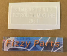 YAMAHA FS1-E FIZZY FS1 FS1E SS PETROL TANK 20:1 OIL  RATIO WARNING DECAL 1973-77