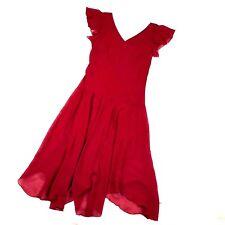 Romantic Dress Women's Sz 8 Sexy Red Handkerchief Hem Flutter Sleeve En Focus