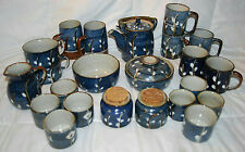 POTTERY BLUE TEAPOT, ASSORTED SIZE TEACUPS/CUPS, CREAMER/SUGAR & BOWLS JAPAN