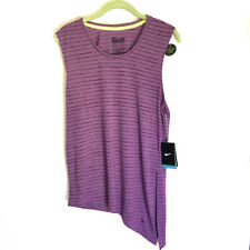 NIKE Dri-FIT Womens Small--Medium Top Purple Asymmetrical Side Tie Stripe  NEW