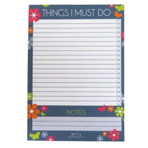 A5 Things to Do Notepad - 6 Decorative Designs - 50 Sheets, Double Sided