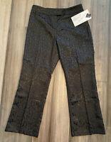 TRIBAL NWT Women's Petites Black Damask Print Cotton Blend Dress Pants-Size 10