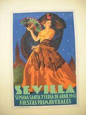 CARTEL SEMANA SANTA Y FERIA DE SEVILLA 1943 FIESTAS PRIMAVERALES LITOGRAFIA