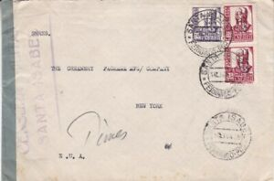 1938 Spanish Guinea #280,#281(2) on Santa Isabel censored cover to US*d